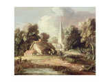 Landscape with a Church  Cottage  Villagers and Animals  C1771-2
