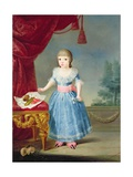 Girl in a Blue Dress by a Table of Sweetmeats