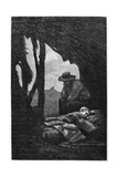 Jean Valjean Watching over Cosette Asleep  Illustration from 'Les Miserables' by Victor Hugo