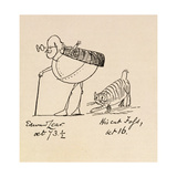 Edward Lear Aged 73 and a Half and His Cat Foss  Aged 16