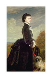 Portrait of a Lady in Black with a Dog  1875