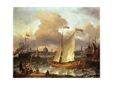 The Swedish Yacht 'Lejouet'  in Amsterdam Harbour  1674