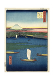 Marshy Island Off the Mouth of the River Sumida  with Edo and Mt Fuji in the Distance  C1857