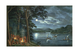 "Fishing by Torchlight  Other Aborigines Beside Camp Fires Cooking Fish  from His ""Drawings of the…"
