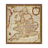 Sampler Depicting a Map of England and Wales  Chain  Double Back and Satin Stitch  by Ann Seaton…