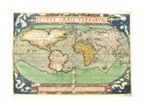 """T827 Typus Orbis Terrarum  Map of the World  from """"Theatrum Orbis Terrarum""""  Pub Antwerp  C1570"""