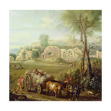 Haycart Passing a Ruined Abbey  C1740-50