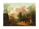 A Landscape with Figures  Farm Buildings and a Milkmaid  C1754-6
