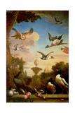 A Mallard and a Golden Eagle in a Classical Garden Landscape