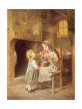 Young Girl Feeding a Toddler
