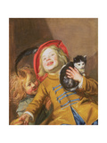 Laughing Children with a Cat  1629