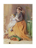 """""""Tick  Tick  Tick"""" - a Girl Sitting on Her Mother's Lap Listening to Her Gold Watch Ticking  1867"""