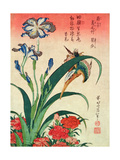 Kingfisher, Iris and Pinks, Pub. by Nishimura Eijudo, C.1832, One of a Set of Ten Prints Reproduction d'art par Katsushika Hokusai