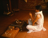 Jain Devotee at a House Shrine