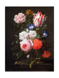 Still Life of Roses  a Carnation  Convolvulus and a Tulip in a Glass Vase