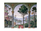 Background Landscape Seen Through the Loggia  Detail from 'Aeneas Sylvius Piccolomini (1405-64)…