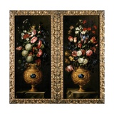 Pair of Still Lives of Flowers in Decorative Gold Vases with Lapiz Cartouches