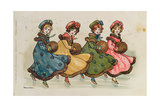Four Young Girls with Muffs