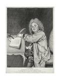 Portrait of Jean-Ferry Rebel (1666-1747) Engraved by Moyreau