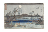 Catching Fish by Moonlight on the Tama River  from a Series 'snow  Moon and Flowers' ('settsu…