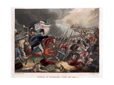 The Duke of Wellington (1769-1852) with Troops Advancing at the Battle of Waterloo  Illustration…