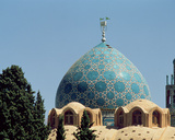 Turquoise Tiled Dome of the Mausoleum of Shah Ne'Matollah Vali  Built Between 1330-1430