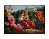 Holy Family and StJohn the Baptist  after an Original by Paris Bordone