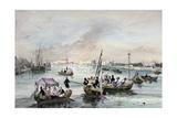 Joust on the Water  'Local Fetes around Paris'  Series  1830  La Villette