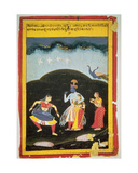 Krishna and Radha in the Rain with Two Musicians  Rajasthan