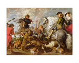Rubens His Second Wife and Son in a Wolf and Foxhunt  after an Original by Rubens