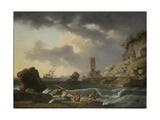 Rocky Coastal Landscape with Shipwreck  1746