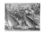 Man of War Between Two Galleys  1565