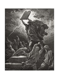 Moses Breaking the Tablets of the Law  Exodus 32:19  Illustration from Dore's 'The Holy Bible' …