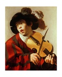 Boy Playing Stringed Instrument and Singing  C1627