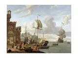 A Capriccio Mediterranean Harbour Scene  1678