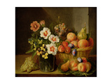 Still Life of Flowers in a Vase and Fruit in a Basket