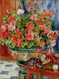 Geraniums and Cats  1881