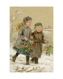 Children Playing in the Snow - Collecting Holly