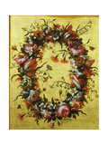 Garland of Flowers on a Gilded Background