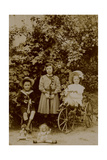 Children with Dolls  Rocking Horse and Tricycle  C1890