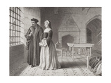 Sir Thomas More (1477-1535) and His Daughter Margaret  Observing Monks Going to Execution from…