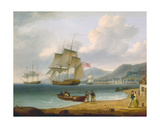 Merchant Ships under Sail and at Anchor Off a Town