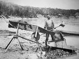 A Prospector Loading a 'Rocker' or 'Cradle' to Wash Gold from Klondike River Water During the…