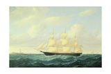 'Dashing Wave' Clipper Ship Off Boston Light  1855