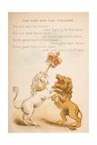 The Lion and the Unicorn  from of 'Old Mother Goose's Rhymes and Tales'  Published by Frederick…