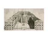 Bird's-Eye View of Guy's Hospital  Southwark  with Figures in the Courtyard  Engraved by William…
