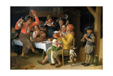 An Interior with Peasants Singing and Dancing  1681