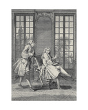 Scene from 'Le Misanthrope' by Moliere (1622-73)  Engraved by Laurent Cars
