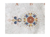 Compass Rose from a Portolan Chart  1670