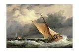 Dutch Cargo Boats in Rough Sea